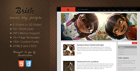 ThemeForest wordpress博客主题 – Brisk